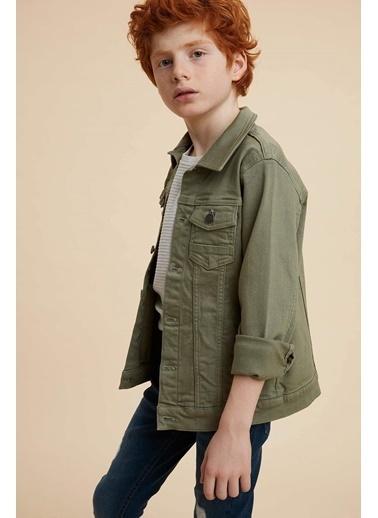 DeFacto Erkek Çocuk Western Jean Ceket Yeşil